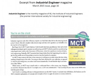 MCT Quick Reference Guide, Book of the Month en Industrial Engineer Magazine